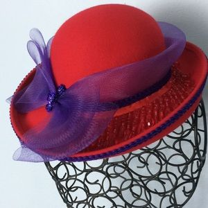 Accessories - Red Wool Hat with purple ribbon & trim one size